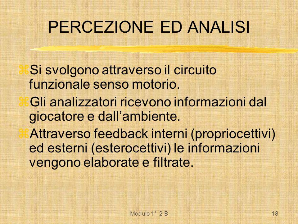 Modulo 1° 2 B19 La qualità della percezione e dellanalisi è determinata da: Fattori generali recettori, capacità di osservazione.