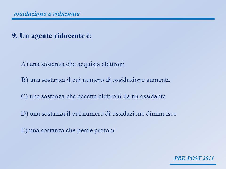 PRE-POST 2011 ossidazione e riduzione una sostanza riducente è una sostanza che ha un numero di ossidazione generalmente basso, che cede elettroni ad unaltra specie, e per questo il suo numero si ossidazione aumenta la sostanza riducente si ossida la sostanza riducente perde elettroni O P E R A ssidazione erde lettroni iduzione cquista KMnO 4 + Cr 2 O 3 MnO 2 + K 2 CrO 4 +3+7 +4 B +6