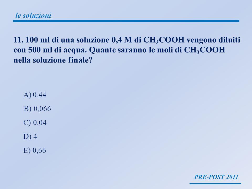 PRE-POST 2011 le soluzioni molarità = moli soluto volume soluzione Legge delle diluizioni: (M i V i ) = (M f V f ) 100 ml di una soluzione 0,4 M di CH 3 COOH vengono diluiti con 500 ml di acqua.