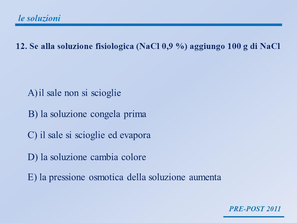 PRE-POST 2011 le soluzioni Una soluzione fisiologica (o soluzione salina) è una soluzione di cloruro di sodio in acqua purificata.