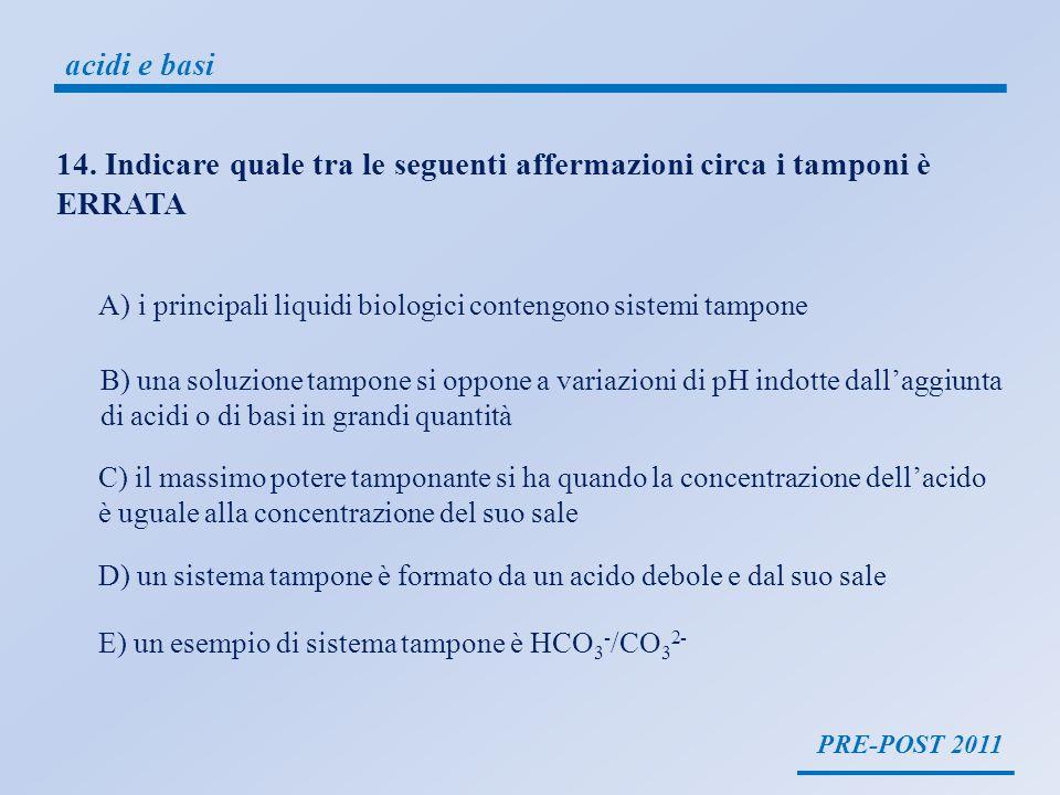 PRE-POST 2011 acidi e basi Una soluzione tampone è una soluzione che si oppone a variazioni di pH indotte dallaggiunta di piccole quantità di acidi o basi Tutti i principali liquidi organici, plasma, linfa, liquido intracellulare, sono sistemi tampone Una soluzione tampone è formata da un acido debole ed un suo sale, o da una base debole e un suo sale CH 3 COONa/ CH 3 COOHHCO 3 - /CO 3 2- pH = pKa + log Cs Ca il massimo potere tamponante si ha quando pH = pKa B