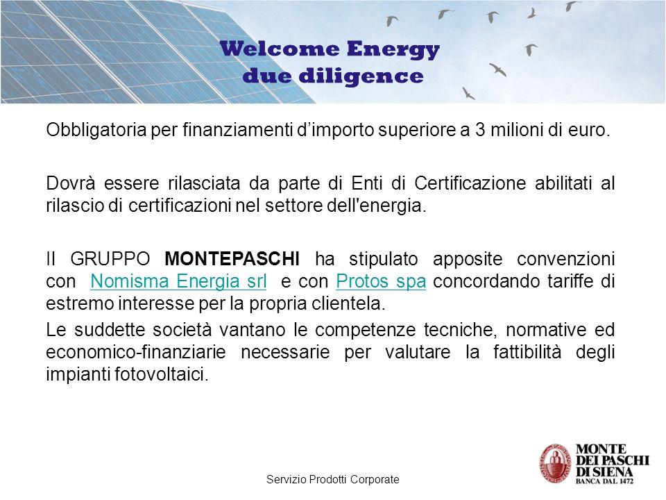 Servizio Prodotti Corporate Il Gruppo Montepaschi ha sottoscritto accordi in convenzione con alcune importanti società a livello nazionale che producono e/o installano impianti fotovoltaici (Enel.si, ACEA, Beghelli, Riello, Albatech, ecc).