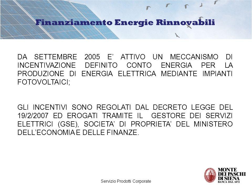 Servizio Prodotti Corporate Finanziamento Energie Rinnovabili LA TARIFFA INCENTIVANTE VIENE CONCESSA SUI KW DI ENERGIA PRODOTTA DA IMPIANTI FOTOVOLTAICI DI POTENZA SUPERIORE AD 1 KW ED EROGATA TRAMITE IL GSE CON VERSAMENTI MENSILI SU UN CONTO DEDICATO.