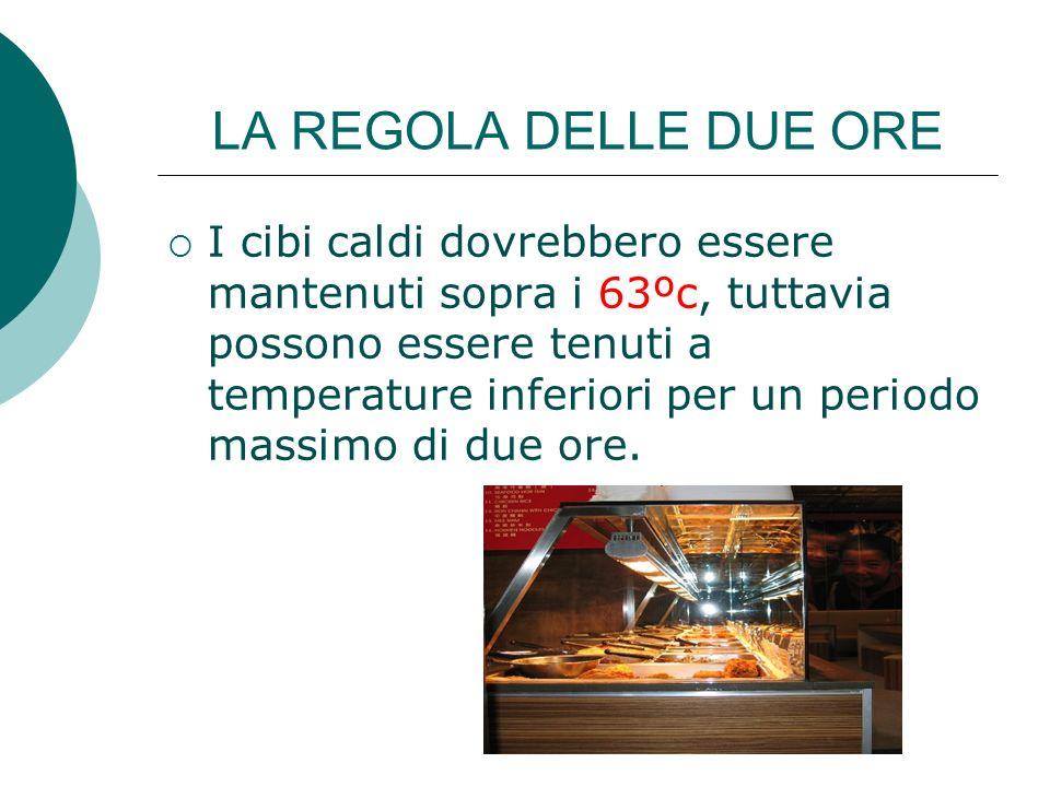 LA REGOLA DELLE QUATTRO ORE Il cibo freddo dovrebbe essere mantenuto ad una temperatura di 8ºc, tuttavia si possono tenere ad una temperatura superiore per un periodo massimo di quattro ore.