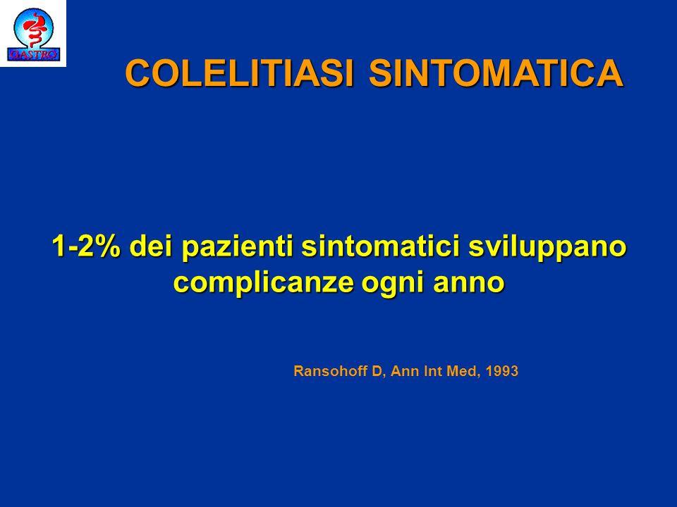 Storia naturale della colelitiasi sintomatica Pazienti diabetici