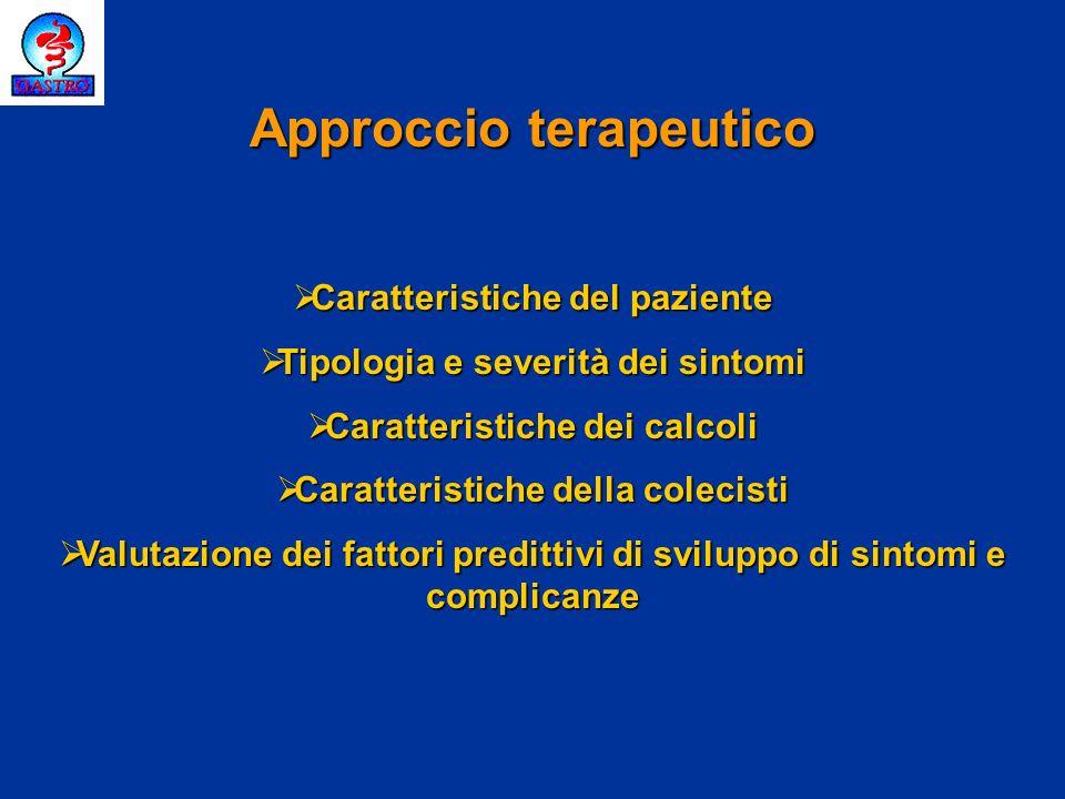 Solventi topici Chirurgia tradizionale Acidi biliari per os Chirurgia laparoscopica Acidi biliari per os Litotripsia extracorporea ERCP