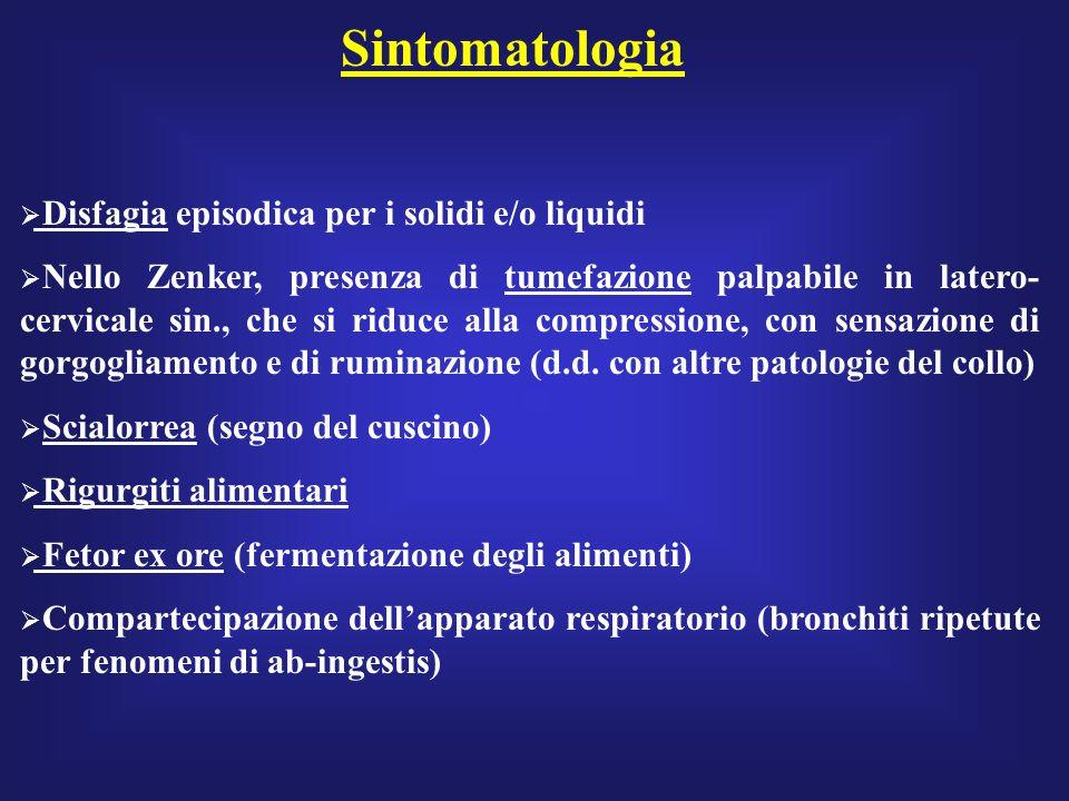 Diagnosi Clinica (Zenker) Endoscopica (attenzione!!) Radiologica (esofagografia: meglio associarla allo studio anche dello stomaco, per verificare la presenza di reflusso e/o di ernia jatale) Manometria (documenta: leventuale assenza di onde peristaltiche primarie, il mancato rilascio del LES o il suo ipotono) pHmetria (documenta la presenza e la durata di un pH anomalo in sede esofagea)