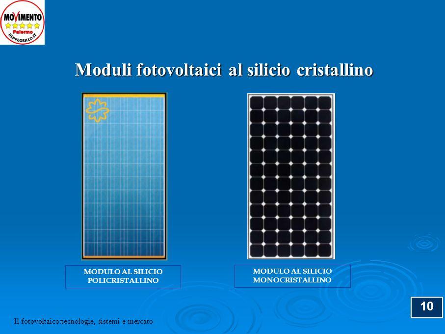 11 FILM SOTTILI (a-Si, Cd-Te, CIS) Pro: Consumo di materiale limitato (spessore 0,001 mm) 0,02 g/W (c-Si: 4 g/W) Moduli leggeri e flessibili Fabbricazione del modulo con un unico processo basso costo di produzione Contro: bassa efficienza moduli (7 % a-Si, 11 % Cd-Te…) Degrado (a-Si) La tecnologia dei film sottili Il fotovoltaico:tecnologie, sistemi e mercato