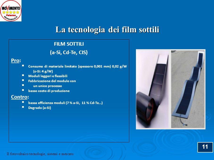 12 Modulo su lamiera normale Modulo su lamiera coibentata Modulo su supporto flessibile Moduli in film sottile (a-Si) Il fotovoltaico:tecnologie, sistemi e mercato