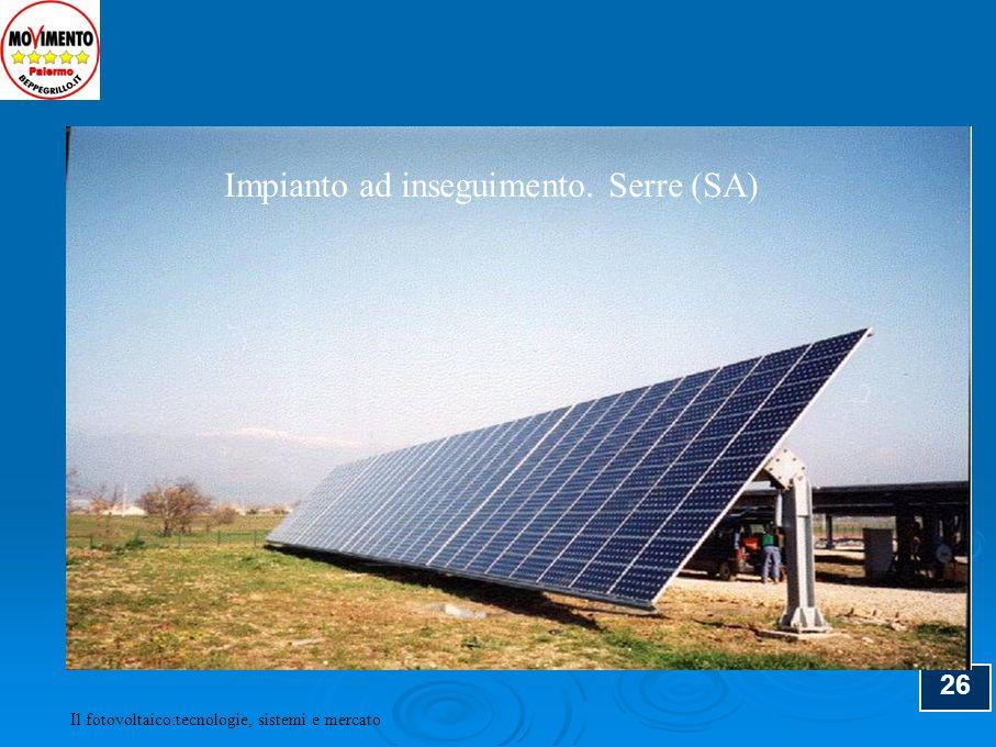 27 SISTEMI FOTOVOLTAICI AD INSEGUIMENTO Inseguimento su asse inclinato (N-S) Inseguimento su due assi Inseguimento su asse orizzontale (N-S o E-W) Il fotovoltaico:tecnologie, sistemi e mercato