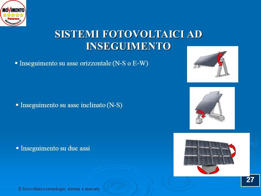 28 SISTEMA AD INSEGUIMENTO A DUE ASSI Il fotovoltaico:tecnologie, sistemi e mercato
