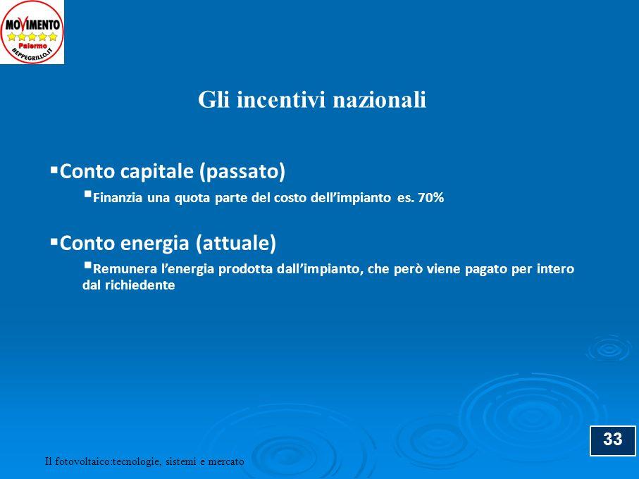 34 Tariffe Incentivanti (/kWh) (*) Taglia impianto (kW) Non integrati Parzialmente integrati Integrati 1 < P 3 0,3920,4310,480 3 < P 20 0,3720,4120,451 P > 20 0,3530,3920,431 Il Conto Energia (*) per maggiori informazioni: www.gse.it Il fotovoltaico:tecnologie, sistemi e mercato