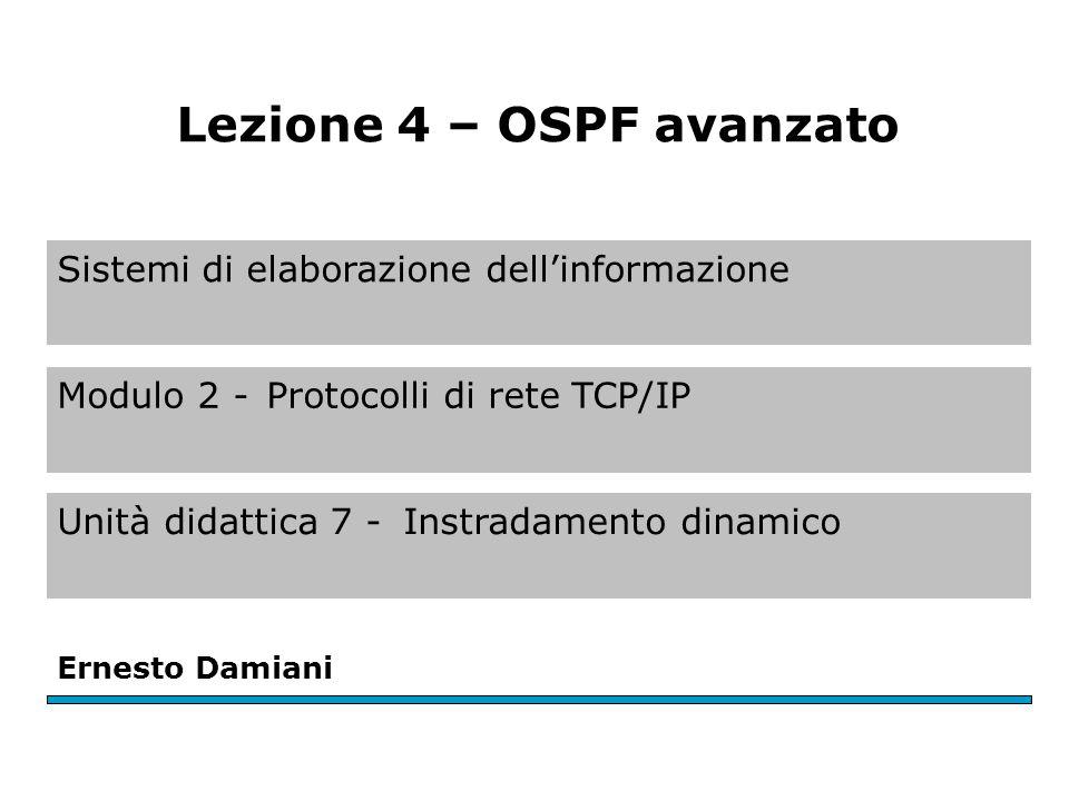 HELLO In OSPF ogni router partecipante invia periodicamente un messaggio HELLO detto LSP (Link State Packet) ai suoi vicini.
