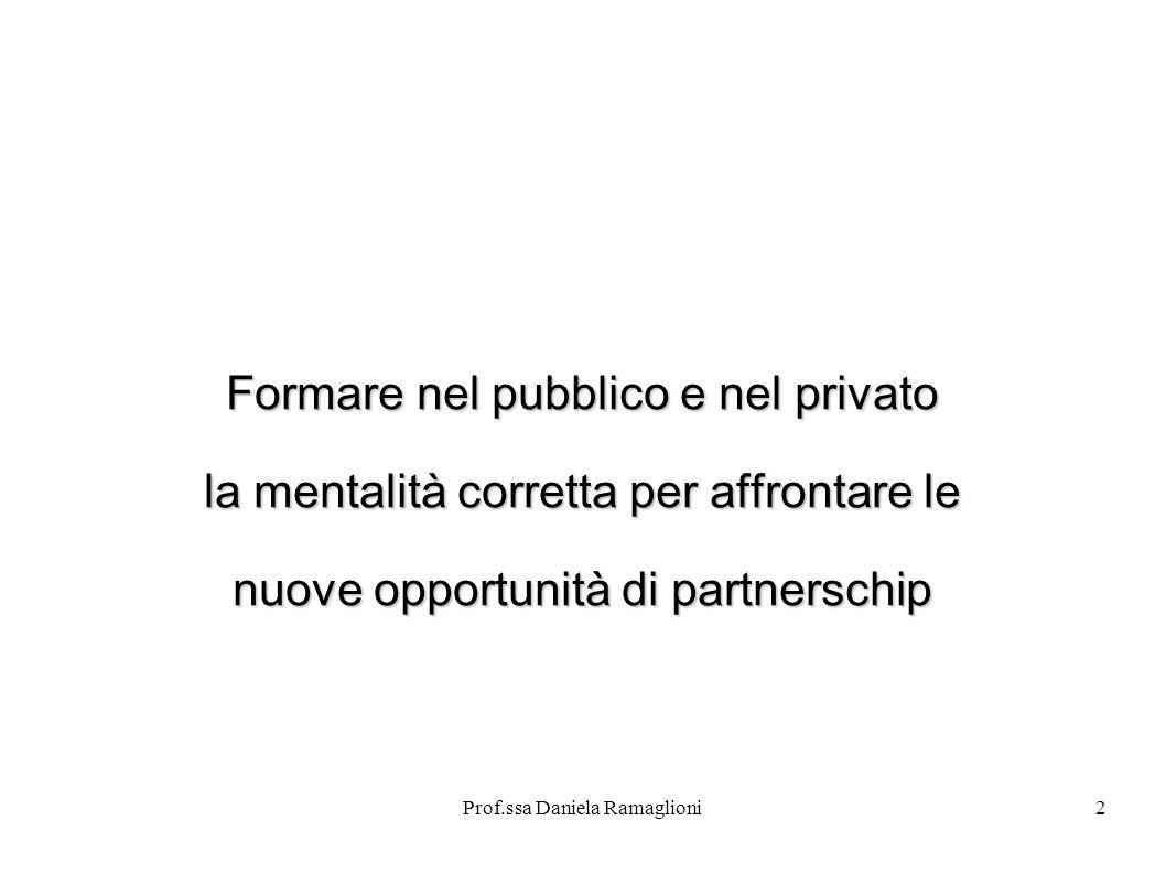 Prof.ssa Daniela Ramaglioni3 Project financing Letteralmente progetto di finanziamento Un nuovo modello per la realizzazione di opere pubbliche alternativo al tradizionale finanziamento di impresa