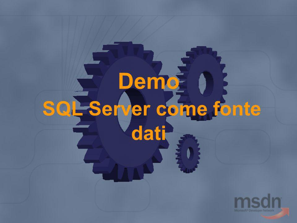 Riepilogo Sintassi dichiarative per il data binding ADO.NET System.Data.SqlClient Collegamento a fonti dati SQL