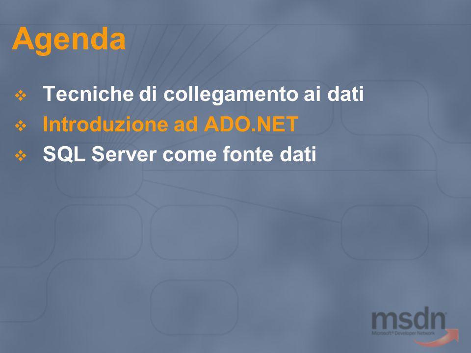 Introduzione ad ADO.NET ADO.NET Evoluzione di ADO Disegnato per: Scalare Lavorare in modo disconnesso Utilizzare lXML I principali oggetti sono: Connection Command DataSet (nuovo) DataReader (nuovo) DataAdapter (nuovo)