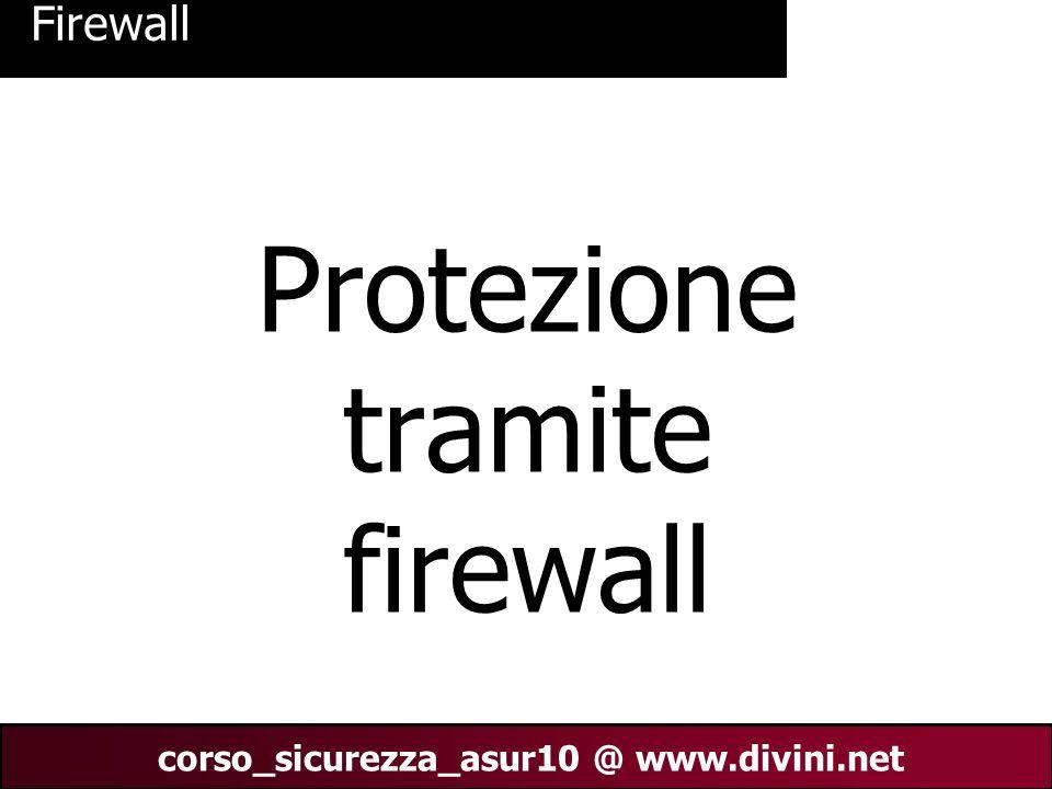 00 AN 2 corso_sicurezza_asur10 @ www.divini.net 1/Firewall - che cosè Il termine Firewall (parete tagliafuoco) è lincarnazione moderna del fossato pieno di acqua e del ponte levatoio che proteggevano gli antichi castelli.
