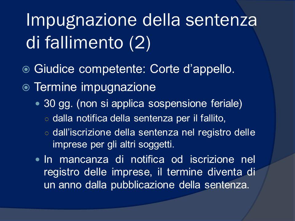 Impugnazione della sentenza di fallimento (3)  Forma: reclamo (ricorso indirizzato al giudice).