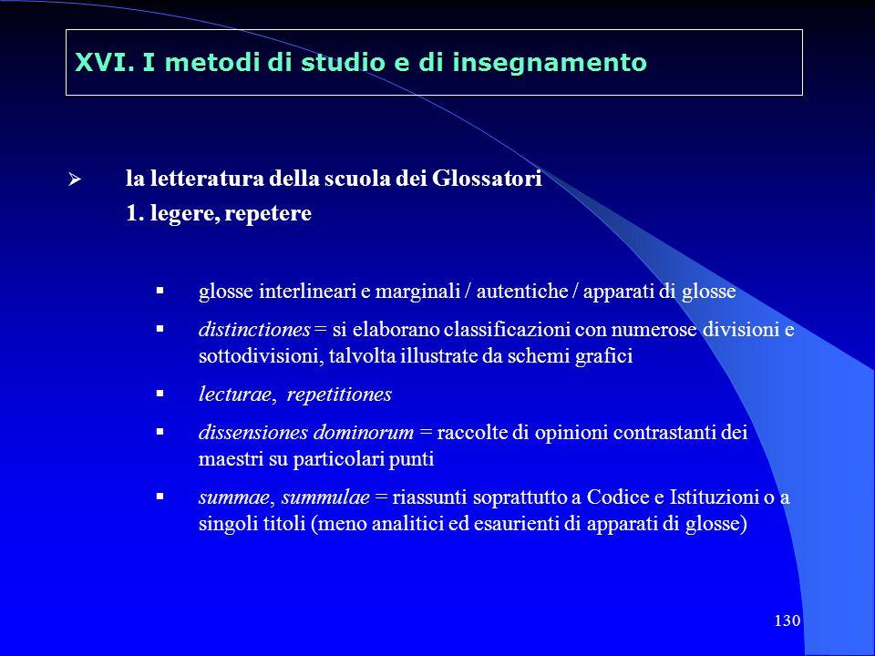 131 XVI.I metodi di studio e di insegnamento la letteratura della scuola dei Glossatori 2.