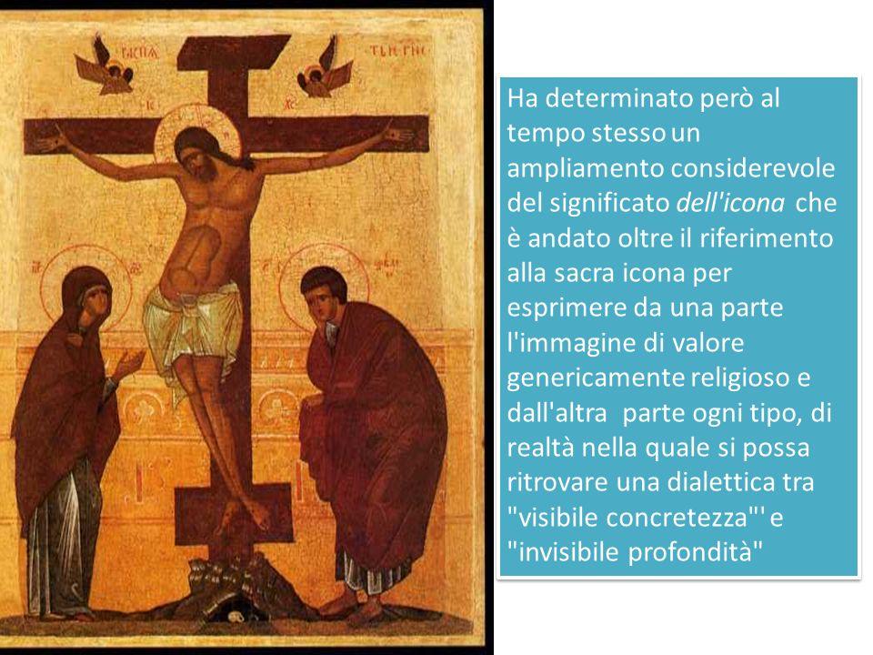 Abbiamo così due modalità teologico- spirituali di uso del termine icona, che sono diverse anche se in qualche misura sovrapposte: icona nel senso di icona sacra; icona nel senso di realtà visibile che rinvia ad un significato teologico salvifico generale.