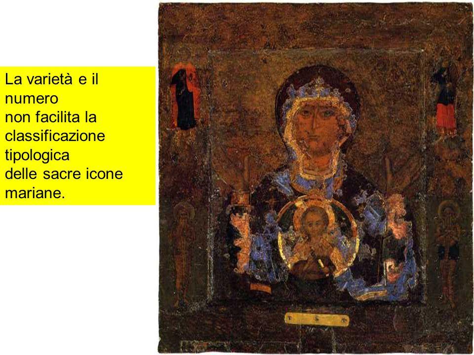 Tuttavia, si può operare una generale distinzione tra le icone nelle quali la Madre di Dio è rappresentata in rapporto immediato o meno con i misteri della vita di Cristo e con le feste dell anno liturgico, spesso basate sui vangeli apocrifi, e le icone che esprimono contenuti della fede, interpretazioni spirituali e in ogni caso contemplazioni del ruolo della Vergine Maria in rapporto al Cristo e alla Chiesa.