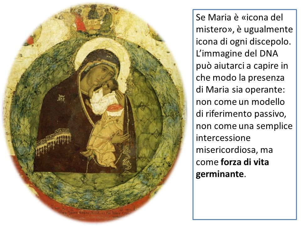La sua maternità non è conclusa, si occupa ancora e continuamente di noi, nelloggi di Dio, ci guida dallinterno, sospingendoci al destino che è il suo.