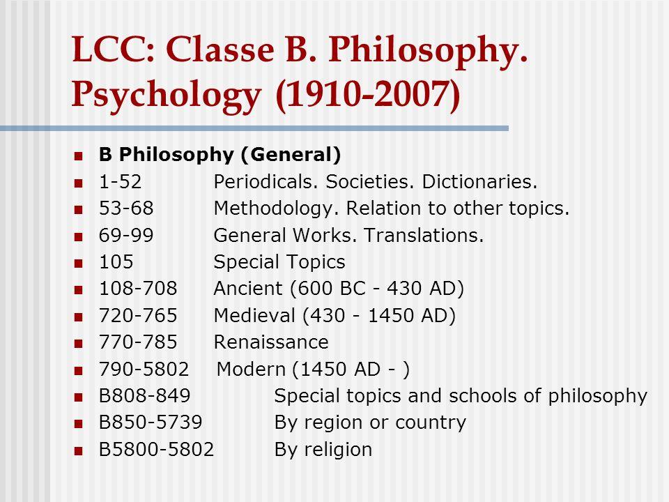 LCC: Classe B.Philosophy.