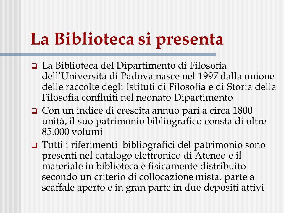 Distribuzione del materiale bibliografico: scaffale aperto, depositi