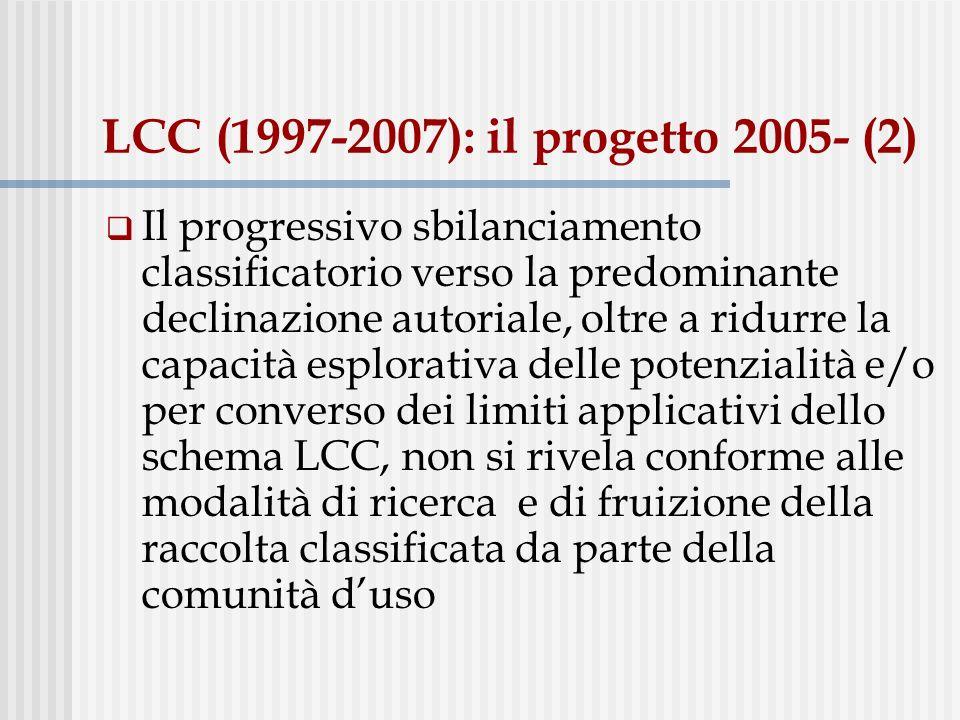 LCC (1997-2007): il progetto 2005- (3) Emersione del problema: Dal punto di vista dello spazio destinato allesposizione classificata dei documenti.