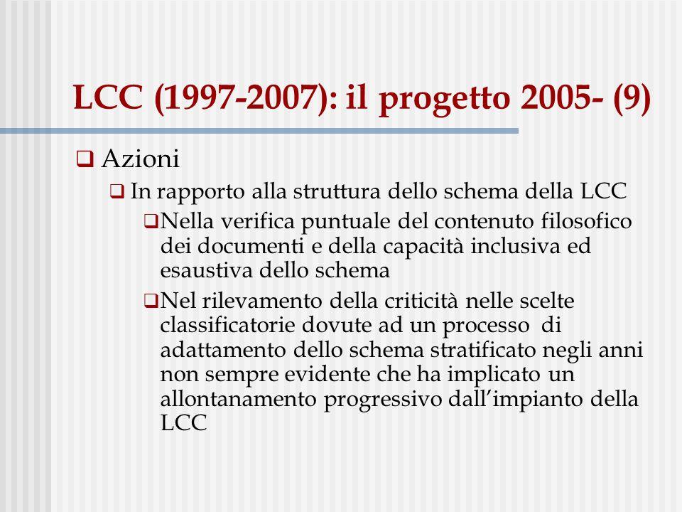 LCC (1997-2007): il progetto 2005- (10) Questioni aperte: la scelta dello schema Mantenere la LCC: Elaborare un adattamento conforme alle esigenze della comunità di ricerca e coerente alle linee di sviluppo delle raccolte Adattare lo schema alle possibilità offerte dal nuovo sistema di automazione Aleph (per es.: ricerca e scorrimento degli indici delle collocazioni classificate nel catalogo elettronico) Implementare lo schema in Aleph di modo da automatizzare le procedure di assegnazione delle notazioni alla raccolta classificata