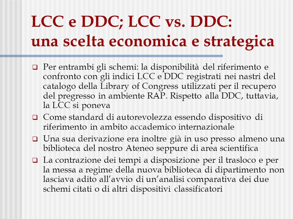 LCC e DDC; LCC vs.