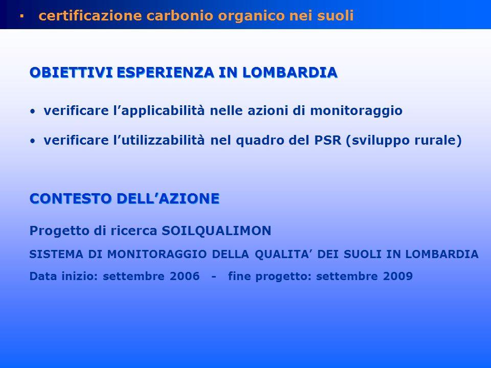 Riccagioia (PV) ott-nov 2006 Carpaneta (MN) 2007 test area: aziende agricole ERSAF Regioni pedologiche Alpi Prealpi Pianura Lombarda Appennino collinare Appennino esperienza in Lombardia