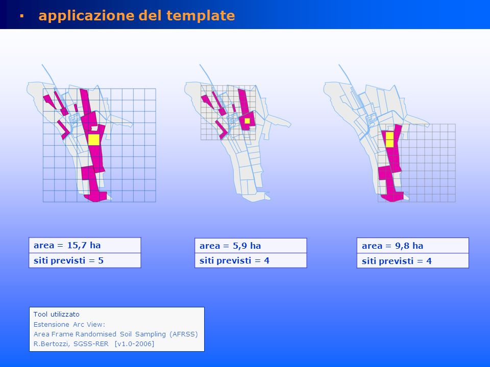 applicazione del template – celle rettangolari area = 15,7 ha siti previsti = 5 10 x10 celle cella = 63 x 112 m area = 5,9 ha siti previsti = 4 10 x10 celle cella = 54 x 51 m.