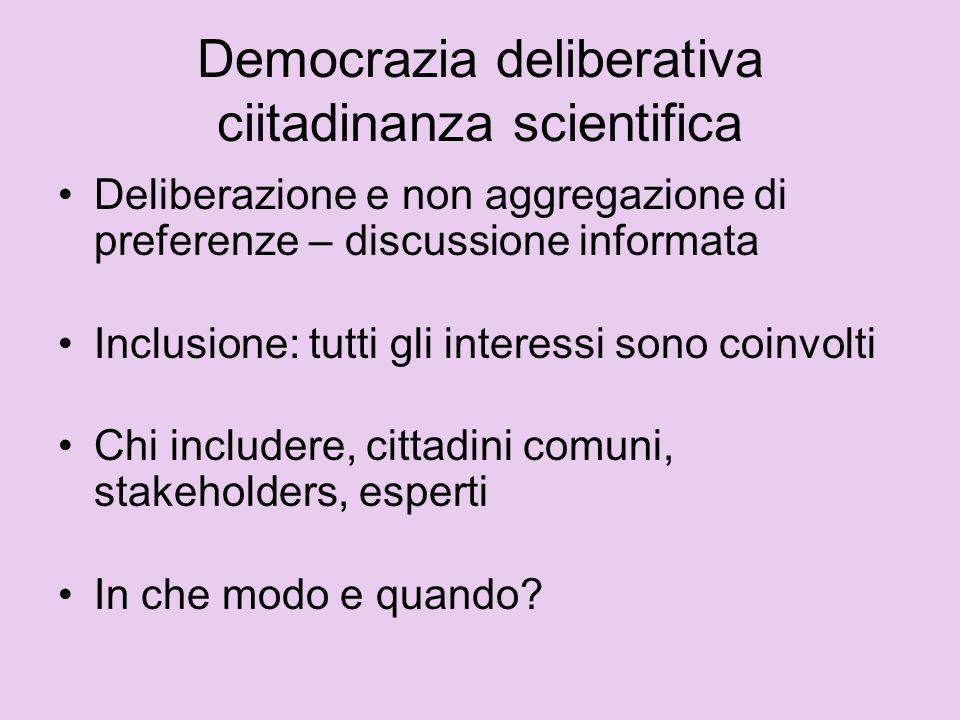 Democrazia deliberativa Requisito: fornire ragioni Scopo: trasformativo.