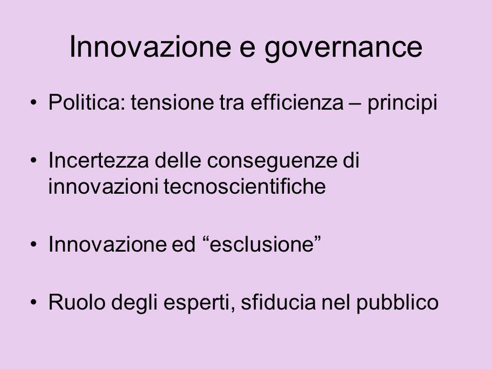Scienza e processi democratici Mutamenti nel governo dei processi di innovazione tecno-scientifica Richieste da parte della società civile e proposte da parte dei decisori pubblici