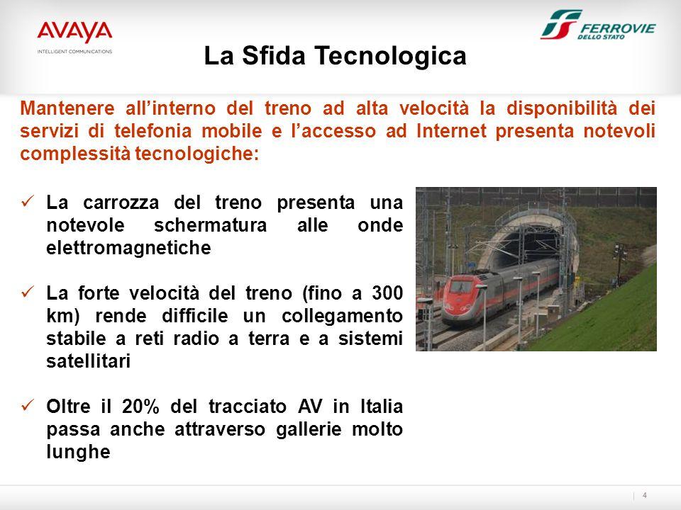 5 La soluzione è stata definita attraverso diverse sperimentazioni, realizzate nel corso del 2009 su alcune tratte AV, allo scopo di studiare le prestazioni della rete UMTS 3G alla velocità dei treni AV.