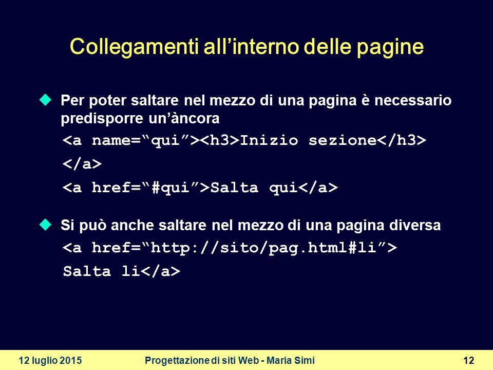 12 luglio 2015Progettazione di siti Web - Maria Simi13 Liste di definizioni primo elemento definizione secondo elemento definizione terzo elemento definizione