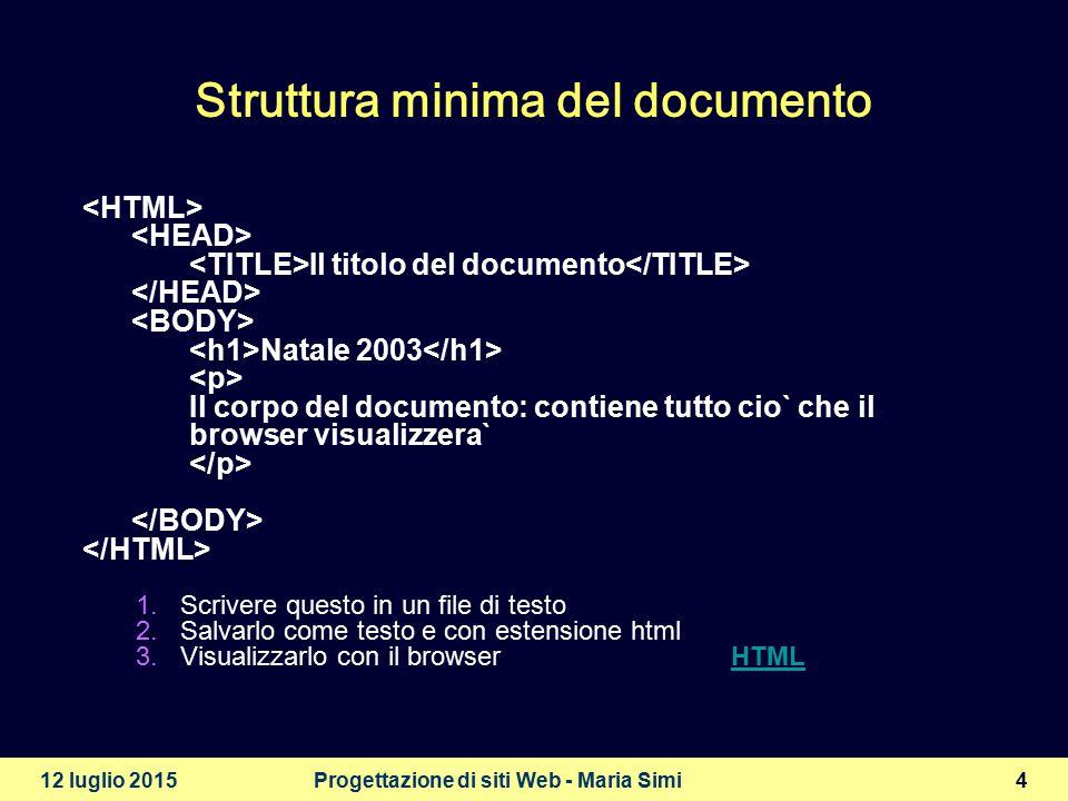 12 luglio 2015Progettazione di siti Web - Maria Simi5 Titoli e paragrafi  Titoli di diverso livello (fino a 6) Un titolo di primo livello Un titolo di secondo livello Un titolo di terzo livello Un altro titolo di secondo livello  Paragrafi Questo è un primo paragrafo di testo Questo è un secondo paragrafo di testo un po' piu` lungo del primo HTML