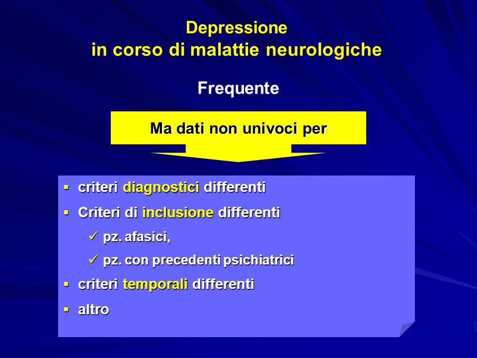 Depressione in malattie neurologiche per cui deve essere correttamente  indagata  diagnosticata  trattata  può  condizionare la prognosi clinico/funzionale  compromettere la qualità della vita  aumentare le complicanze  interferire con la riabilitazione