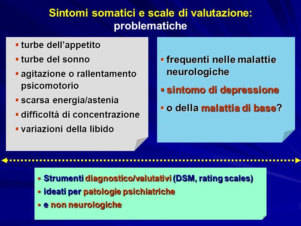 Rating scales e sintomi somatici DSM-IV  turbe dell'appetito  del sonno  agitazione o rallentamento psicomotorio  scarsa energia/astenia  difficoltà di concentrazione HDRS  insonnia (3 items)  rallentamento  agitazione  sint.