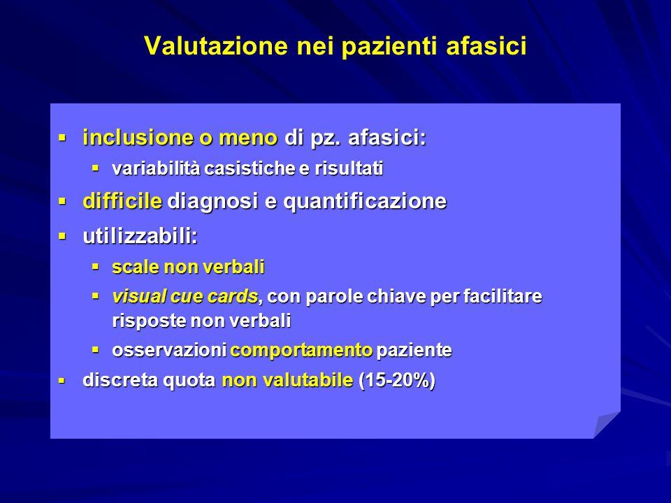 Visual Analog Mood Scales: Sad scale  Scala non verbale  Il pz deve indicare il volto con cui si identifica  Stern, 1997  validata nello stroke  Arruda et al.