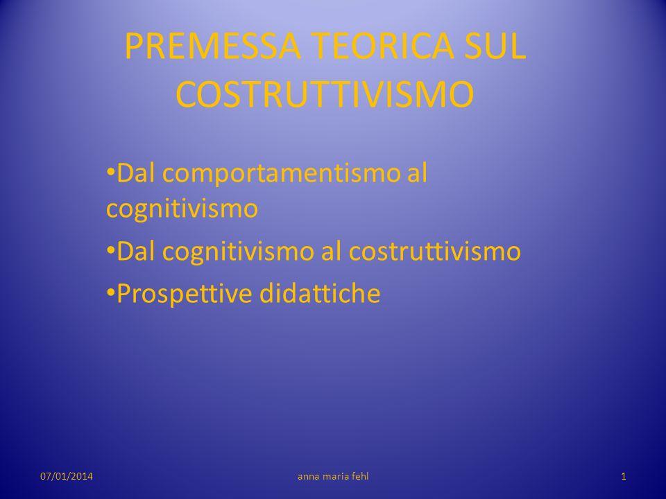 D AL COMPORTAMENTISMO AL COGNITIVISMO Da una concezione comulativa e meccanica dellimparare a una conoscenza come processo costruttivo e strategico 07/01/20142anna maria fehl