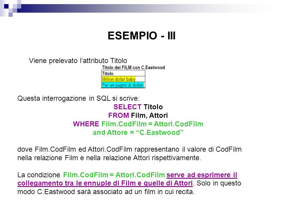 ESEMPIO - IV Per motivi di chiarezza e per evitare ambiguità, è opportuno specificare, per ogni attributo, la relazione cui appartiene, con la notazione Relazione.Attributo.