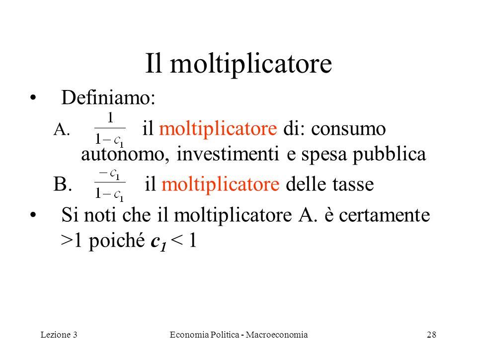 Lezione 3Economia Politica - Macroeconomia29 Il moltiplicatore In simboli moltipl.