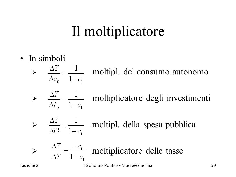 Lezione 3Economia Politica - Macroeconomia30 Esempio Assumiamo che la spesa per investimenti aumenti di 100 euro : I 0 =100 che la PMC è 0,8: c 1 = 0,8.