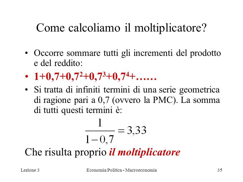 Lezione 3Economia Politica - Macroeconomia36 Moltiplicatore e PMS Ricorderete che (1-c 1 ) = s = PMS Risulta quindi che il denominatore del moltiplicatore è pari alla PMS La formula del moltiplicatore quindi può essere anche scritta: Moltiplicatore = 1/s