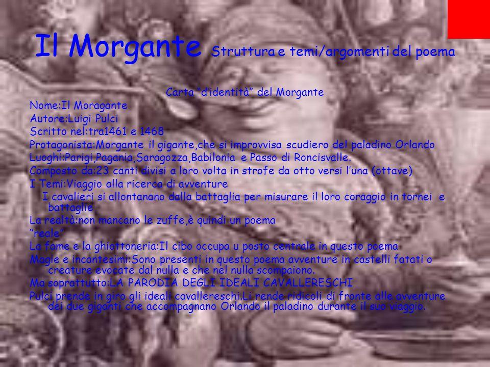 Il cambiamento del cavaliere cortese dalla Chanson de Roland all'Orlando Innamorato 1100 Durante il ciclo Carolingio (XII secolo)Il paladino era il classico eroe senza macchia e senza paura Chanson de Roland Il Morgante PARODIA DEGLI IDEALI CAVALLERESCHI Gli ideali cavallereschi della Chanson vengono Messi in ridicolo 1438 L'Orlando Innamorato e il suo proseguimento L'Orlando Furioso.