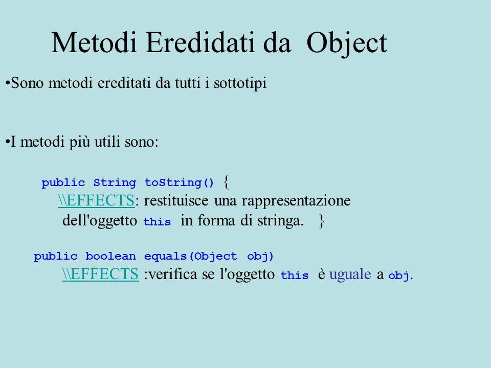Commenti a toString() La definizione del metodo nella classe Object restituisce una stringa che contiene il nome della classe dell oggetto ed una rappresentazione esadecimale del codice hash dell oggetto (indirizzo in memoria dell oggetto).