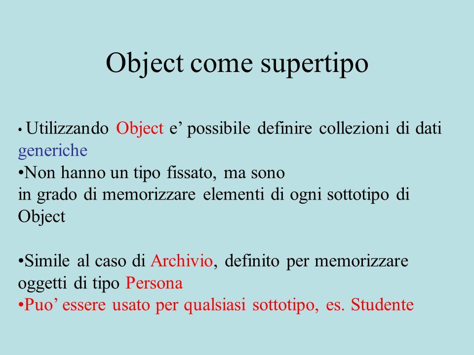 Un tipo di dato primitivo La classe java.util.Vector permette di definire degli oggetti chiamati vettori ( Vector ) -memorizzano sequenze di oggetti di lunghezza variabile -possono contenere oggetti di tipo diverso, purche sottotipi di Object