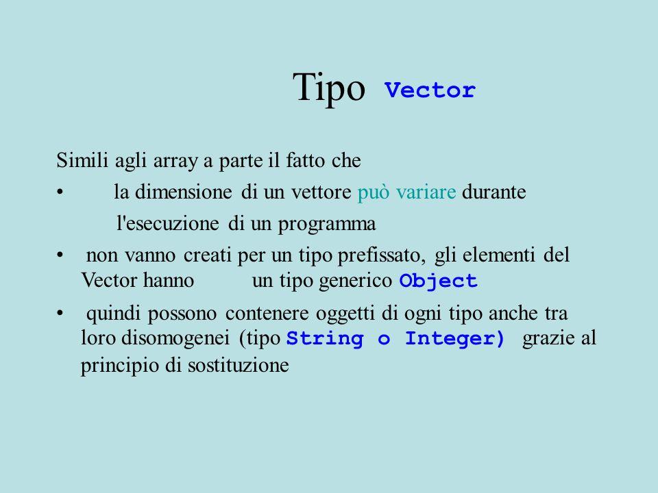 Tipo Vediamo la specifica Principali costruttori e metodi Per un uso piu avanzato rimandiamo ad LSD Vector